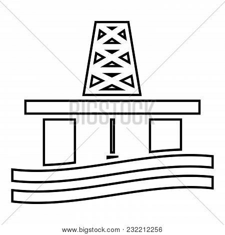 Petroleum Platform Icon Black Color Vector Illustration Flat Style Simple Image
