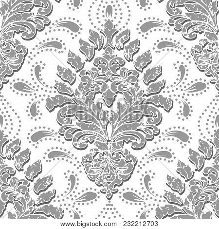 Vector Grunge Damask Seamless Pattern Element. Classical Luxury Old Fashioned Damask Ornament, Royal