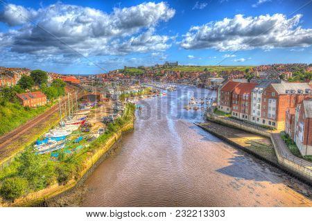 Whitby North Yorkshire With View Of Town River Esk And Abbey In Colourful Hdr