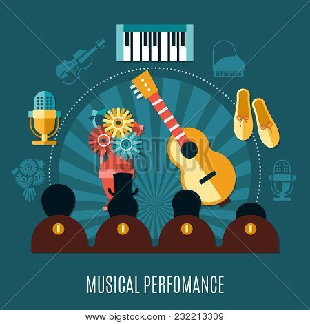Theatre Dark Composition With Musical Performance Headline And Musical Instruments And The Audience