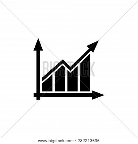 Graph Chart. Flat Vector Icon. Simple Black Symbol On White Background