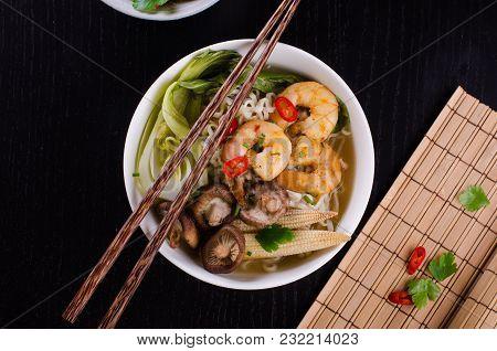 Asian Ramen With Shrimps, Mushroom And Bok Choy