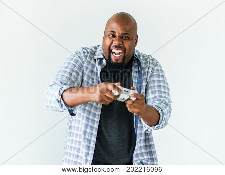 poster of Man enjoying video game isolated on white background