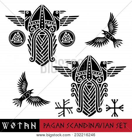 Scandinavian pagan set - God Wotan and two ravens in a circle of Norse runes. Illustration of Norse mythology, isolated on white, vector illustration poster