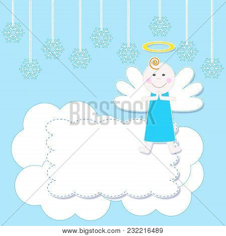 Frame With Cute Christmas Baby Angel.vector Illustration