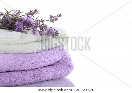 Stack Of Terry Towels With Lavender Flowers