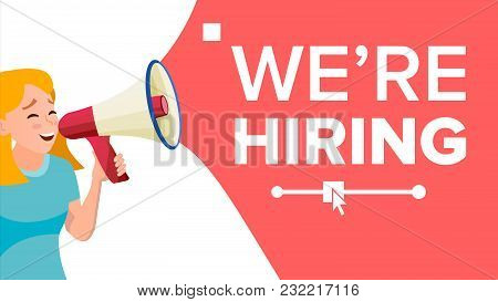 Business Woman Announce Concept Vector. Screaming Announcement Banner Design. Man With Megaphone. Gr