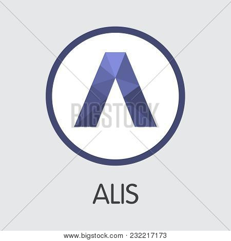 Alis. Virtual Currency. Alis Pictogram Symbol Isolated On Grey Background. Stock Vector Pictogram Sy