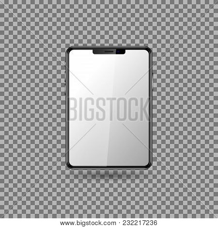 Realistic Black Tablet With Blank Screen. Isolated Element. Vector Illustration. Eps10