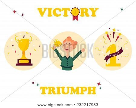 Set Of Winner Tags And Badges. Girl Holding Winning Trophy, Golden Goblet, First Place Sign