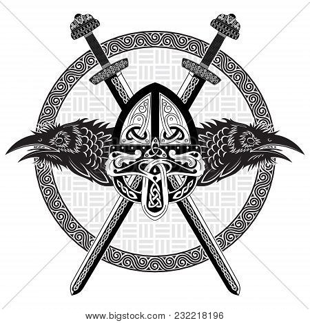 Viking Helmet, Crossed Viking Sword And In A Wreath Of Scandinavian Pattern And Two Raven, Isolated