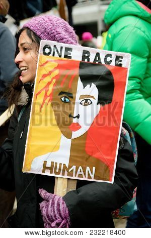 London, United Kingdom, 17th March 2018:- The Stand Up To Racism March Through Central London From T