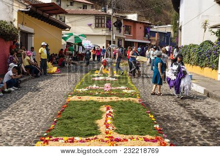 Antigua, Guatemala: March 18 2018: Local Working On Alfombres, Flower Carpets On The Cobbled Streets