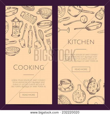 Vector Vertical Web Banners Of Set Illustration With Hand Drawn Kitchen Utensils