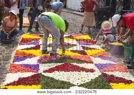 Antigua, Guatemala: March 18 2018: Locals Working On Alfombres, Flower Carpets With Blossoms And Wat