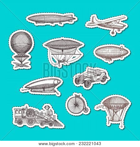 Vector Stickers Set With Steampunk Hand Drawn Dirigibles, Bicycles And Cars Illustration