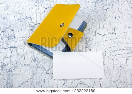 Blank Business Cards On The Wooden Table. Template For Id. Top View