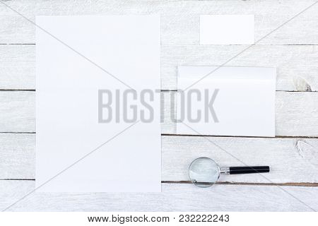Corporate Stationery Set Mockup. Magnifier. Blank White Textured Brand Id Elements