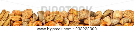 Fresh baked bread products in form vertical lines isolated on white background. Copy space