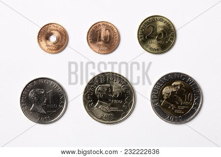 Philippine Coins On A White Background - Peso