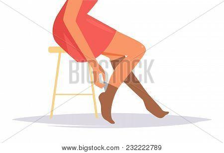 Woman Pulls On Leg Stockings Vector. Cartoon. Isolated Art On White Background. Flat