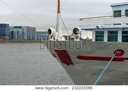 Russia, Saint Petersburg - August 18, 2017: Berth Utkina Zavod. White Cruise Ship Moored To Berth