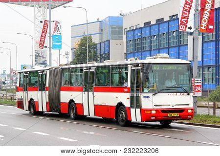 Brno, Czech Republic - July 22, 2014: Articulated City Bus Karosa B941e At The City Street.
