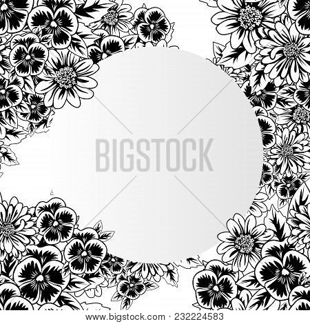 Frame With Flowers For Congratulations, Cards, Price Tags, Flyers