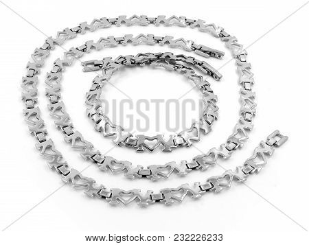 Jewelry Set - Chain And Bracelet - Stainless Steel