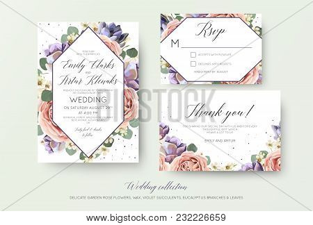 Wedding Floral Invitation, Rsvp, Thank You Card Elegant Botanical Design With Lavender Pink Garden R