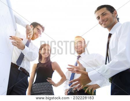 business team discussing a new presentation