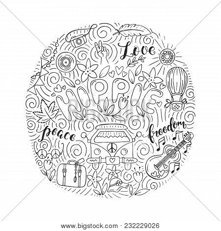 Vector Colorful  Outline Hand Drawn Doodle  Set Of Hippie Objects And Symbols With Lettering. This I