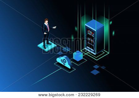 Server Storage Site For Global Data Upload Through Wireless Technology. Isometric People. Vector Ill