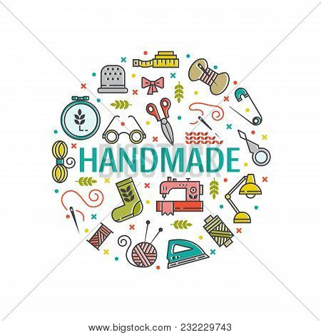Vector Hand Made Icons Set - Symbols Or Logos Of Sewing, Knit, Embroidery, Needlework. Perfect For B