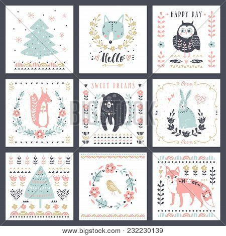 Postcards With Cute Illustrations. Vector Set For Children's Prints, Greetings, Posters, T-shirt, Pa