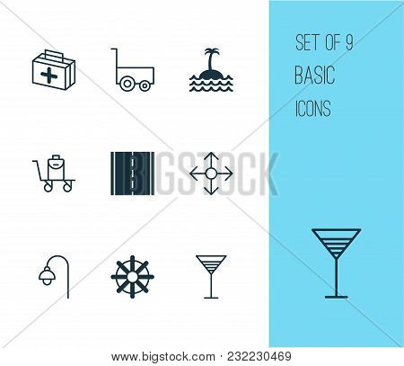 Tourism Icons Set With Medicine, Bag On Cart, Street Light And Other Freight Trolley Elements. Isola