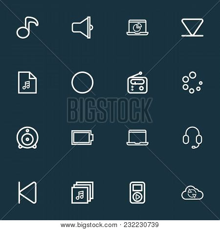 Multimedia Icons Line Style Set With Albums, Web Cam, Record And Other Quaver Elements. Isolated Vec