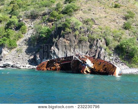 Wrecked Ship At St.kitts Nevis Small Antilles