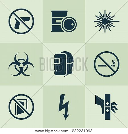 Sign Icons Set With Bio-hazard, No Smoking, Welder And Other Injury Elements. Isolated Vector Illust