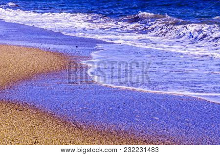 Close Up Of The Sea Water Affecting The Sand On The Beach, Sea Waves Calmly Flowing Sand, Relaxing V