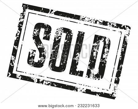 Print Sold. Black Text With Grunge Texture. Vector Element For You Business Projects