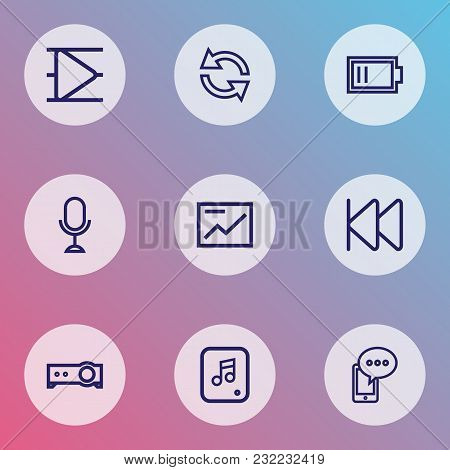 Multimedia Icons Line Style Set With Microphone, Presentation, Cellphone And Other Mobile Content El