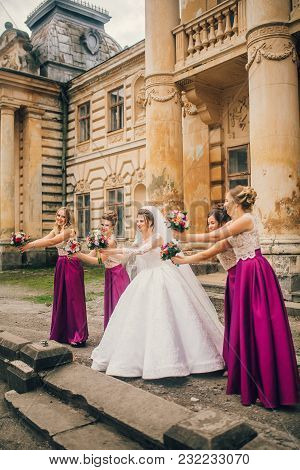 Stylish Bridesmaids Have Fun With Bride. Sunny Wedding Day With Georgeus Bride And Bridesmaids. Tren
