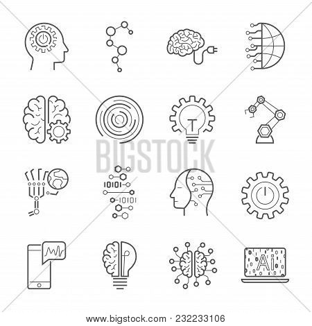 Simple Set Of Artificial Intelligence Related Vector Line Icons. Contains Such Icons As Face Recogni