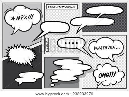 A Set Of Various Vector Cartoon Comic Speech Bubbles.