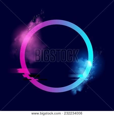 An Illuminated Circle With Sparks, Smoke And A Glitch Effect. Minimal Vector Illustration Design.
