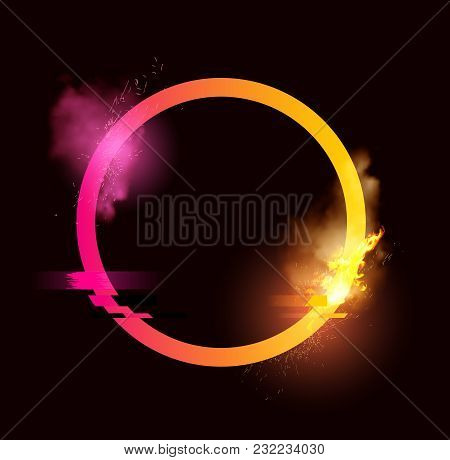 An Illuminated Loop With Sparks, Smoke And A Glitch Effect. Minimal Vector Illustration Design.