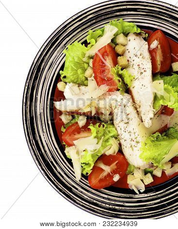 Caesar Salad With Grilled Chicken Breast, Garlic Crouton, Lettuce, Tomatoes And Grated Parmesan Chee