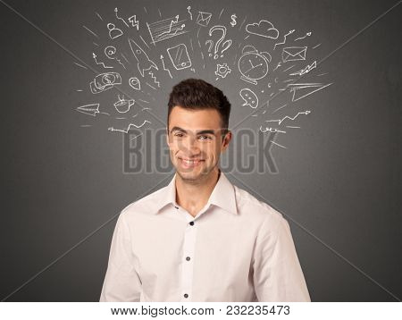 Young casual businessman with white social icons around his head