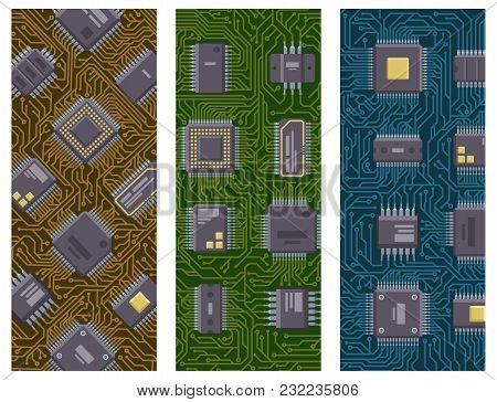 Cpu Microprocessors Microchip Brochure Vector Illustration. Hardware Component Equipment. Integrated